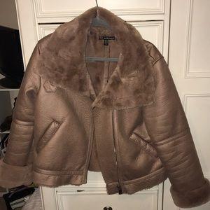 Blush faux shearling moto jacket